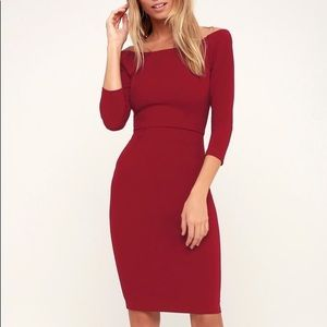Lulu's Red Bodycon Midi Dress